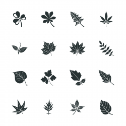 Leafs Shape Silhouette Icons
