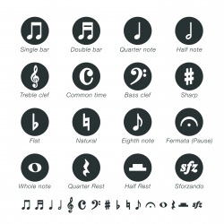 Musical Note Silhouette Icons