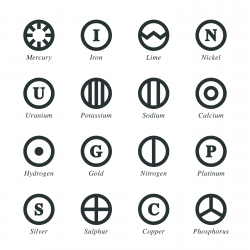 Chemical Element Silhouette Icons | Set 4