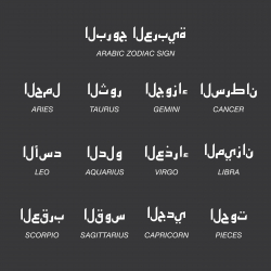 Arabic Zodiac Characters Icons - White Series