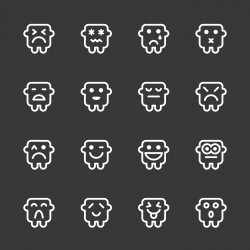 Emoticons Set 11 - White Series