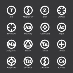 Chemical Element Icons Set 3 - White Series