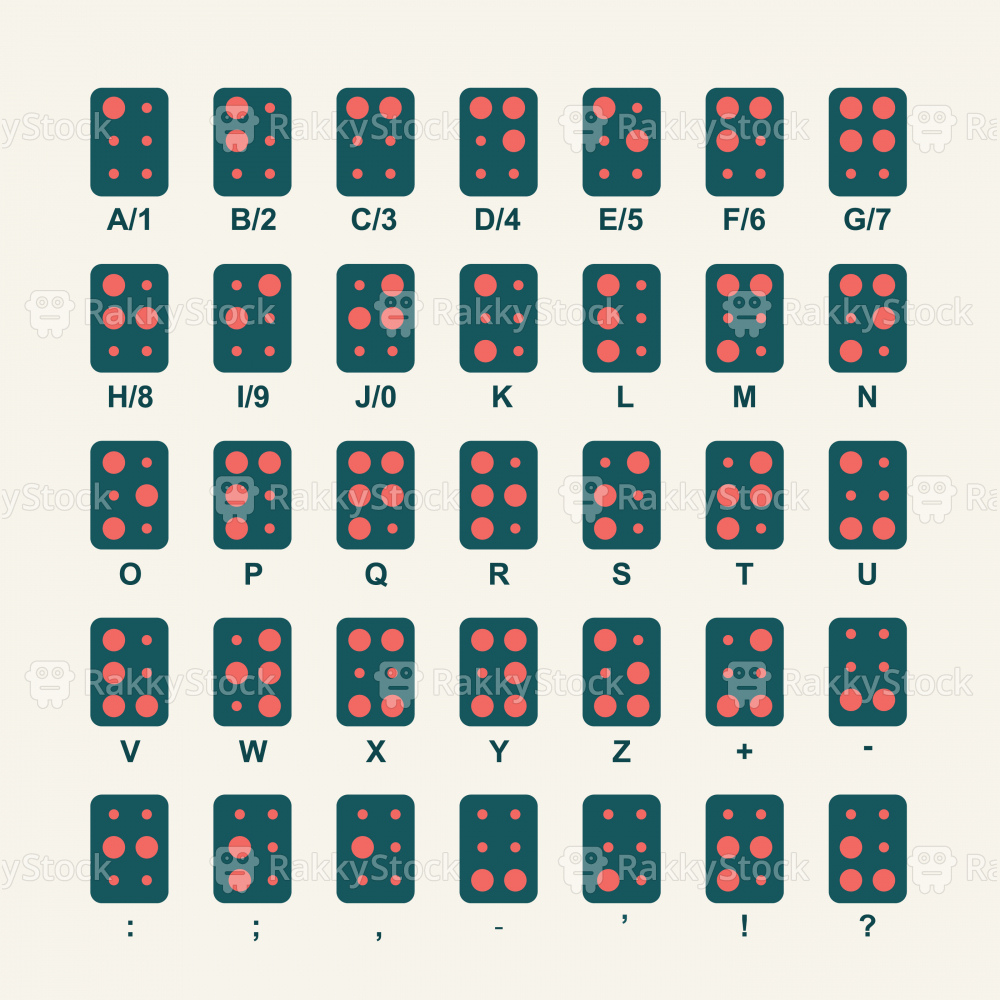 Braille Alphabet Icons - Color Series