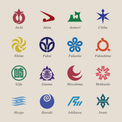 Japanese Prefectures Icons Set 1 - Color Series