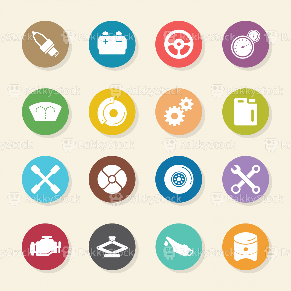 Car Tools Icons - Color Circle Series