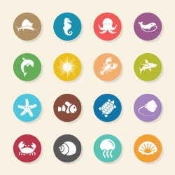Marine Life Icons - Color Circle Series