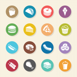 Fast Food Icons - Color Circle Series