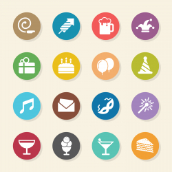 Birthday Celebrations Party Icons - Color Circle Series