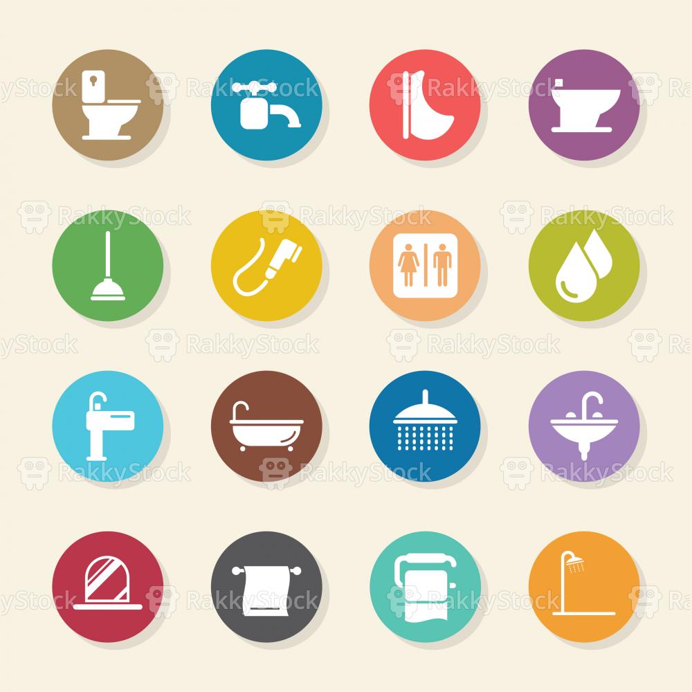 Bath and Bathroom Icons - Color Circle Series