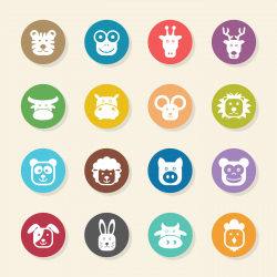 Animal Faces Icons - Color Circle Series