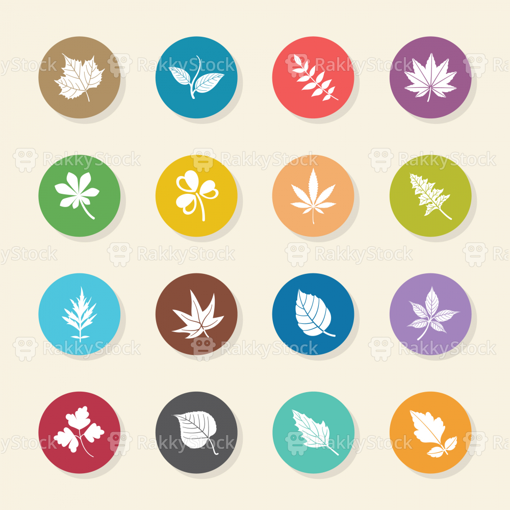 Leafs Shape Icons - Color Circle Series
