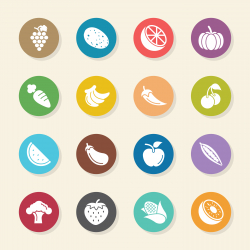 Fruit and Vegetable Icons Set 1 - Color Circle Series