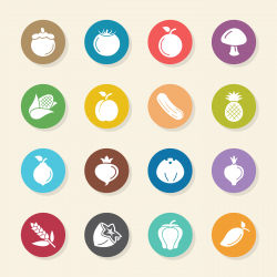 Fruit and Vegetable Icons Set 2 - Color Circle Series