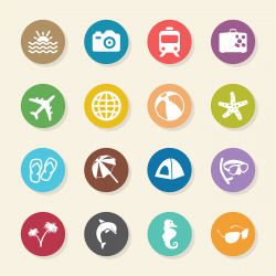 Travel and Vacation Icons Set 1 - Color Circle Series