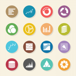 Chart and Graph Icons - Color Circle Series