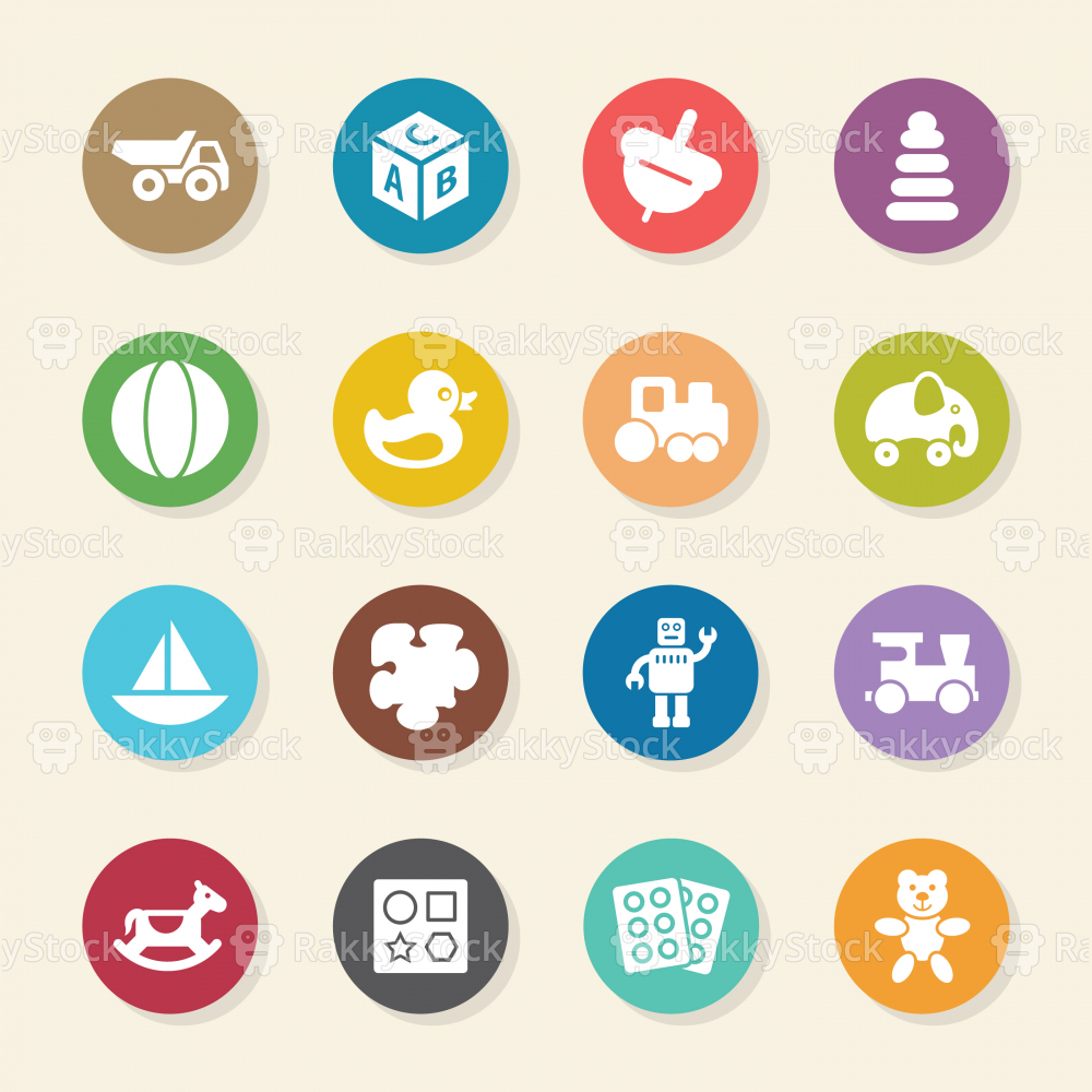 Toys Icons - Color Circle Series