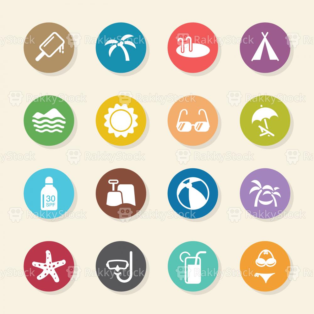 Summer Season Icons - Color Circle Series