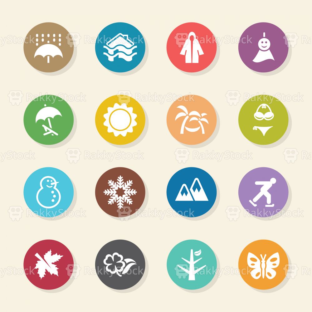 All Season Icons Set 1 - Color Circle Series
