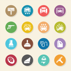 Car Wash Icons - Color Circle Series