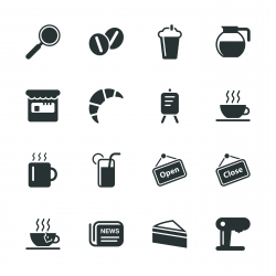 Coffee Shop Silhouette Icons