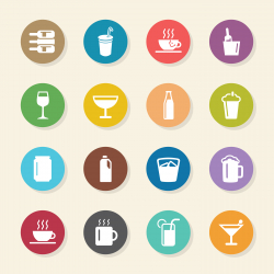 Drink Icons Set 1 - Color Circle Series