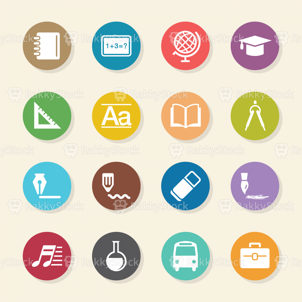 Education Icons - Color Circle Series