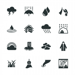 Rains Season Silhouette Icons