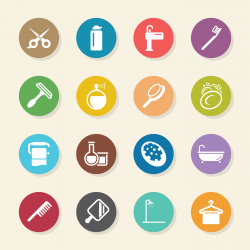 Personal Care Icons - Color Circle Series