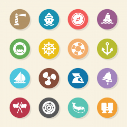Nautical Icons - Color Circle Series