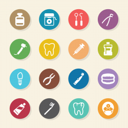 Dental Icons - Color Circle Series