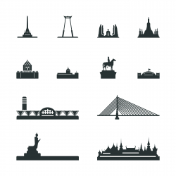 Landmark of Thailand Silhouette Icons