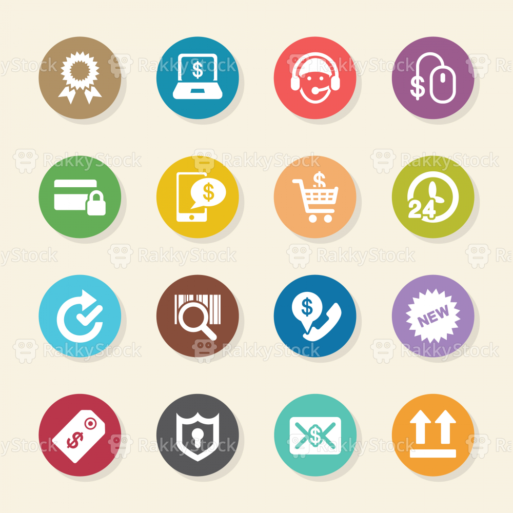 Online shopping Icons - Color Circle Series