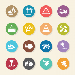 Construction Icons - Color Circle Series