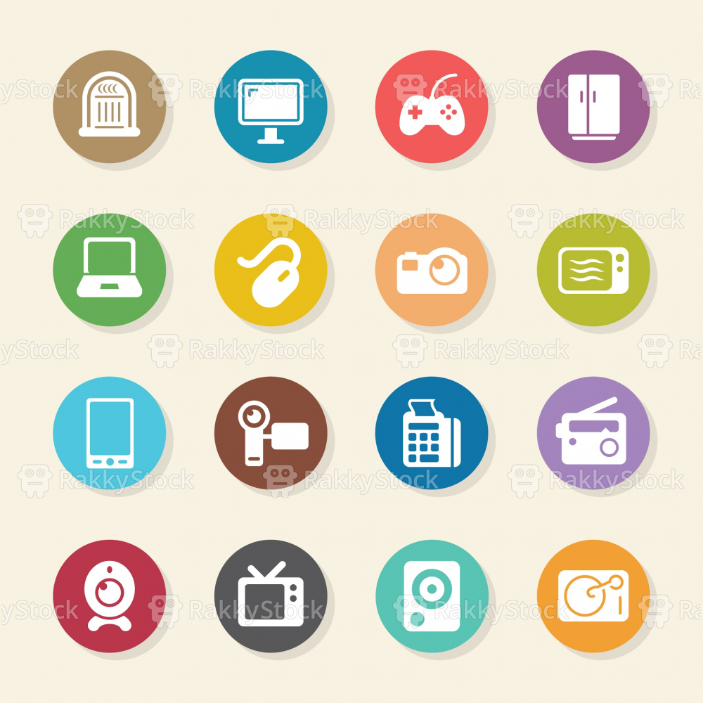 Electronics Icons - Color Circle Series