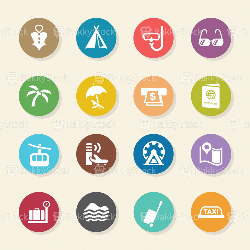 Travel and Vacation Icons Set 2 - Color Circle Series