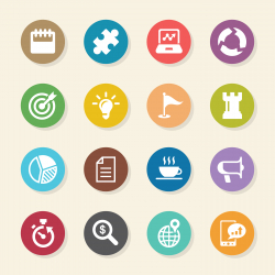 Business Strategy Icons - Color Circle Series