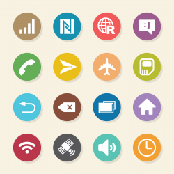 Smartphone Interface Icons - Color Circle Series
