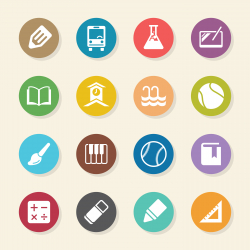 School Icons Set 2 - Color Circle Series