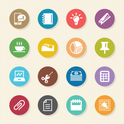 Office and Business Icons - Color Circle Series