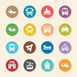 Transportation Icons Set 2 - Color Circle Series