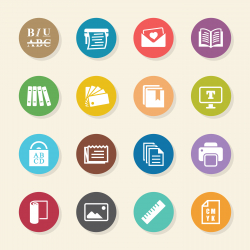 Print and Publishing Icons - Color Circle Series