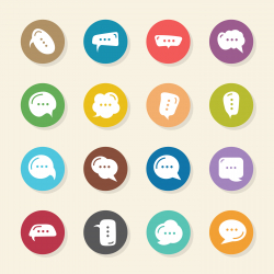 Speech Bubble Icons - Color Circle Series