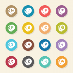 Currency Symbol Icons Set 1 - Color Circle Series