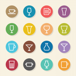 Glass and Cup Icons - Color Circle Series