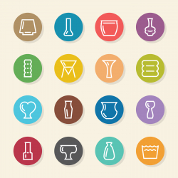 Vase and Pot Icons Set 2 - Color Circle Series