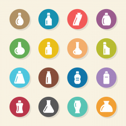 Bottles Icons Set 2 - Color Circle Series