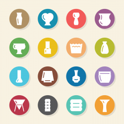 Pot and Vase Icons Set 2 - Color Circle Series