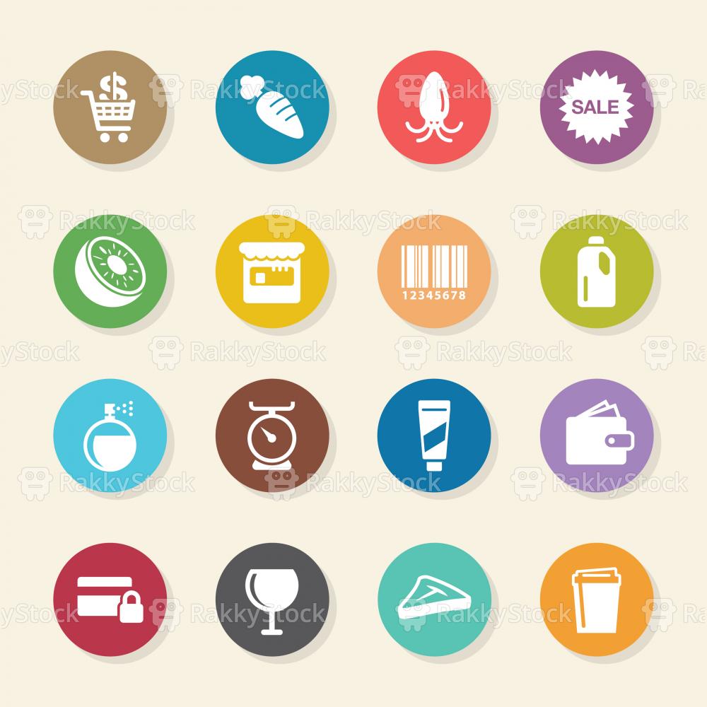 Supermarket Icons Set 2 - Color Circle Series