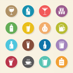 Beverage Icons Set 2 - Color Circle Series