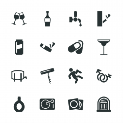 Drunk Party Silhouette Icons   Set 2